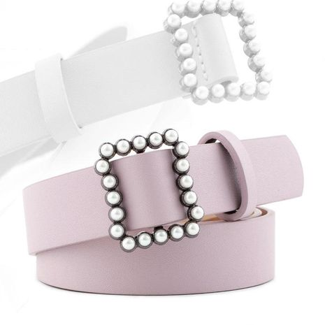 Fashion woman faux leather beads buckle belt strap for jeans dress multicolor NHPO134173's discount tags