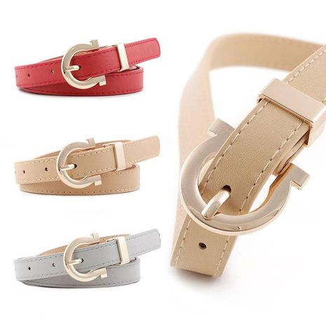 Fashion woman faux leather metal buckle thin belt strap for jeans dress candy color NHPO134194's discount tags