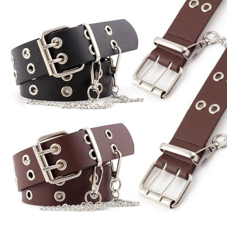 Fashion woman faux leather metal hole buckle belt strap for jeans dress multicolor NHPO134196's discount tags