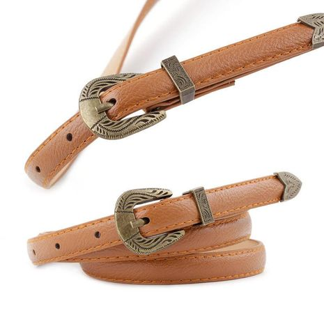 Fashion retro woman imitation leather carved metal buckle thin belt strap for jeans dress multicolor NHPO134199's discount tags