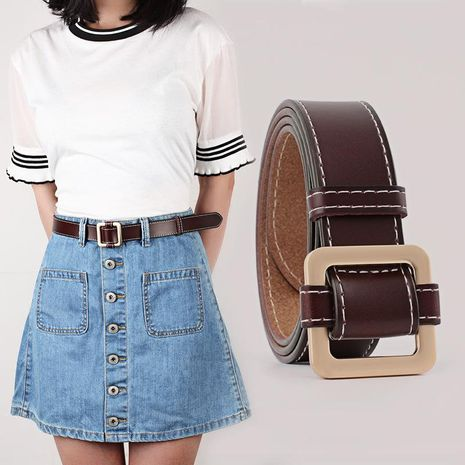 Fashion woman leather metal buckle belt strap for jeans dress multicolor NHPO134206's discount tags