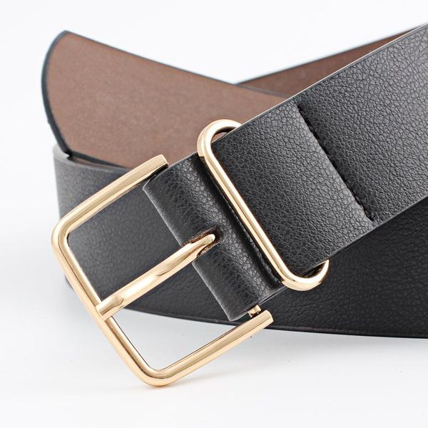 Fashion woman faux leather metal pin buckle belt strap for jeans dress multicolor NHPO134212