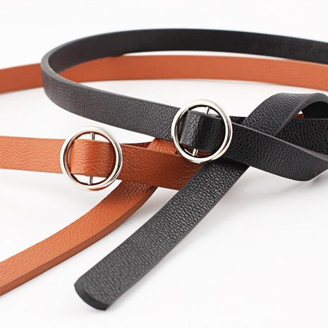 Fashion woman imitation leather smooth buckle thin belt strap for jeans dress multicolor NHPO134215's discount tags