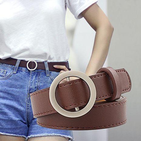 Fashion woman faux leather metal buckle non-porous belt strap for jeans dress multicolor NHPO134218's discount tags