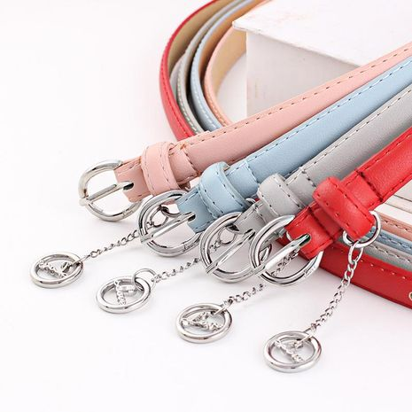 Fashion woman faux leather metal buckle thin belt strap pendant for jeans multicolor NHPO134220's discount tags