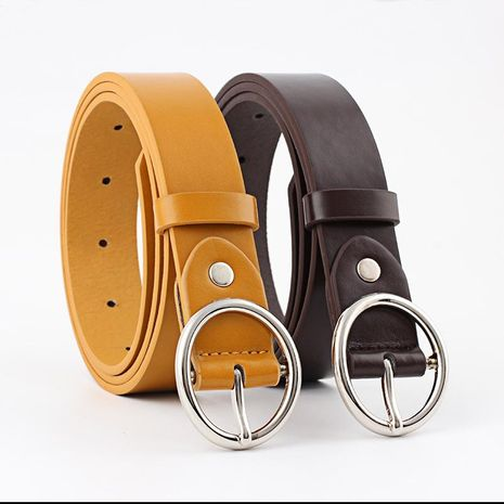 Fashion woman imitation leather metal oval buckle thin belt strap for jeans multicolor NHPO134236's discount tags
