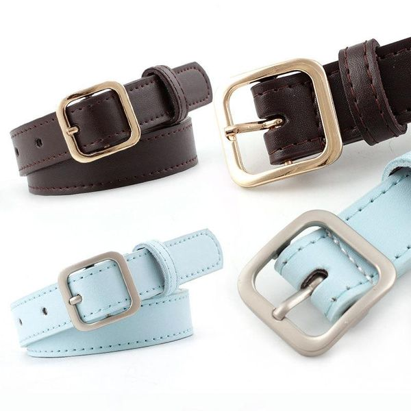Fashion woman metal square buckle belt strap for jeans multicolor NHPO134258