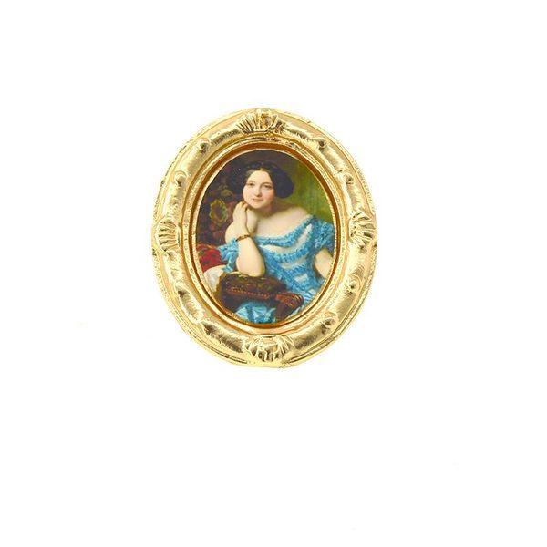 Vintage embossed oval oil painting brooch NHNT134299