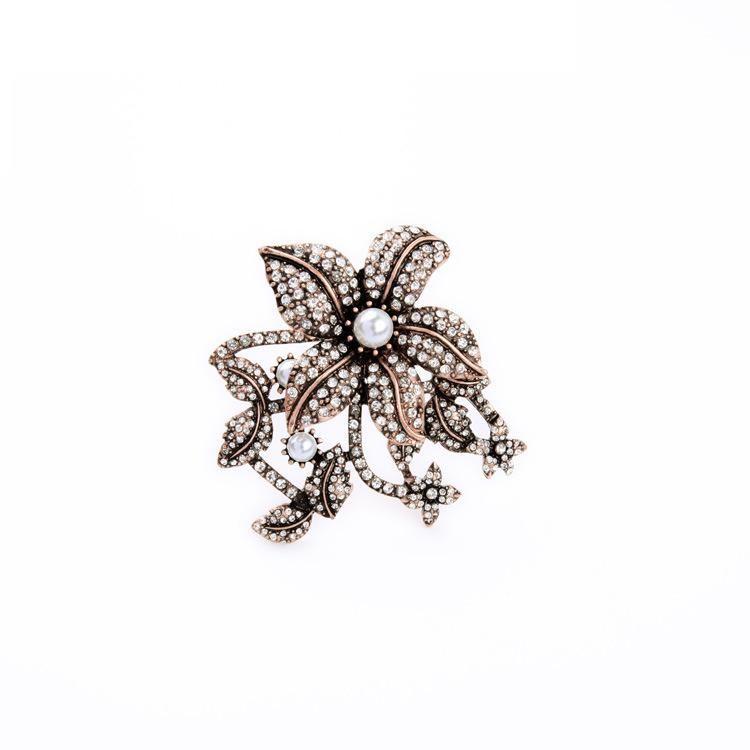 Fashion alloy rhinestonestudded flower brooch NHQD134300