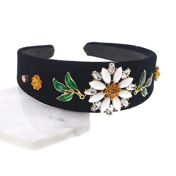 Fashion Beads Flash Rhinestone Sun Flower Leaf Rhinestone Headband NHNT134330