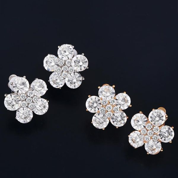 Fashion fresh flower alloy rhinestone earrings NHAS134402