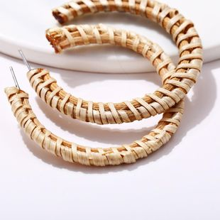 Creative simple woven wood color exaggerated earrings NHPJ134406's discount tags