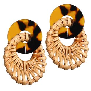 Retro simple hollow acrylic wooden woven earrings NHPJ134419's discount tags