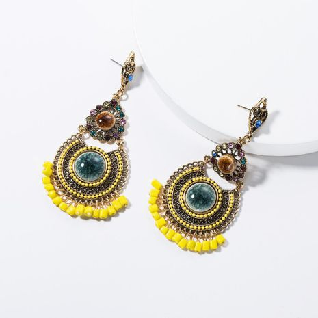 Vintage temperament multi-layer round resin-studded earrings NHJE134421's discount tags