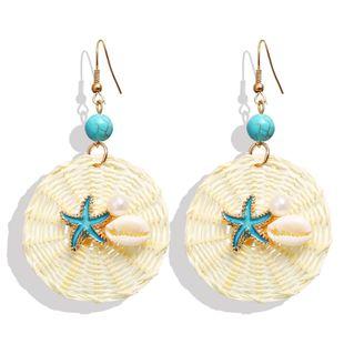 Creative Starfish Shell Beads Pendant Rattan Knit Earrings NHPJ134431's discount tags