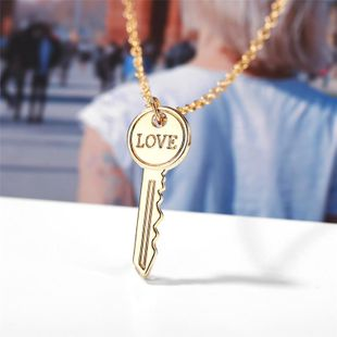 Creative simple love key metal necklace NHPJ134432's discount tags