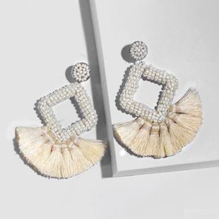 Fashion geometric rhinestone shaped rice beads tassel earrings NHAS134464's discount tags