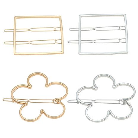 Simple openwork flower rectangular double-breasted alloy hair clip NHHN134475's discount tags