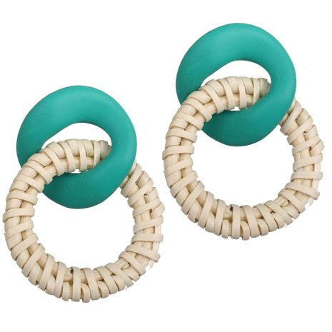 Creative Vintage Irregular Acrylic Log Woven Alloy Earrings NHPJ134489's discount tags