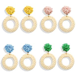 Creative simple beach wind rice beads wooden rattan woven earrings NHPJ134492's discount tags