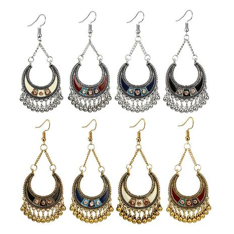 Vintage Drop Oil Studded C-Type Semicircular Bell Tassel Alloy Earrings NHGY134500's discount tags