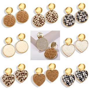 Creative retro simple sequins straw braided round heart earrings NHPJ134505's discount tags