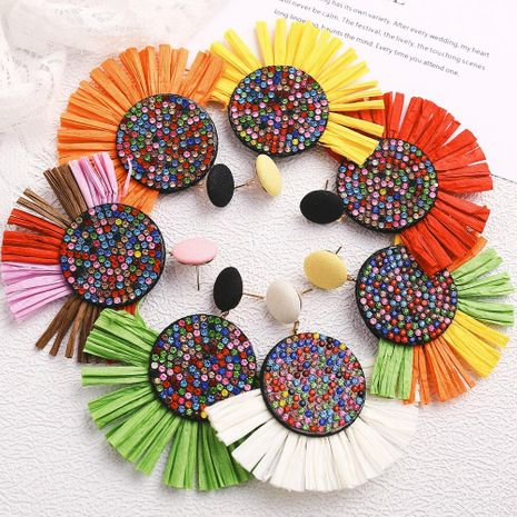 Creative multicolor round inlaid rhinestone tassel alloy earrings NHPJ134506's discount tags
