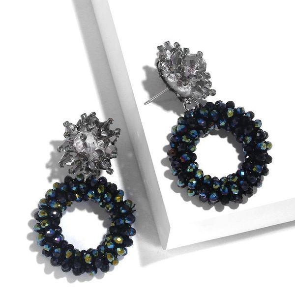 Fashion imitated crystal rice beads geometric round alloy earrings NHAS134509