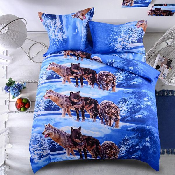 Softest multi-piece bed set wolf comforter duvet cover pillowcase twin / queen / king NHSP134521