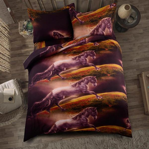 Softest multi-piece bed set horse comforter duvet cover pillowcase US/EU/AU twin/queen/king NHSP134518