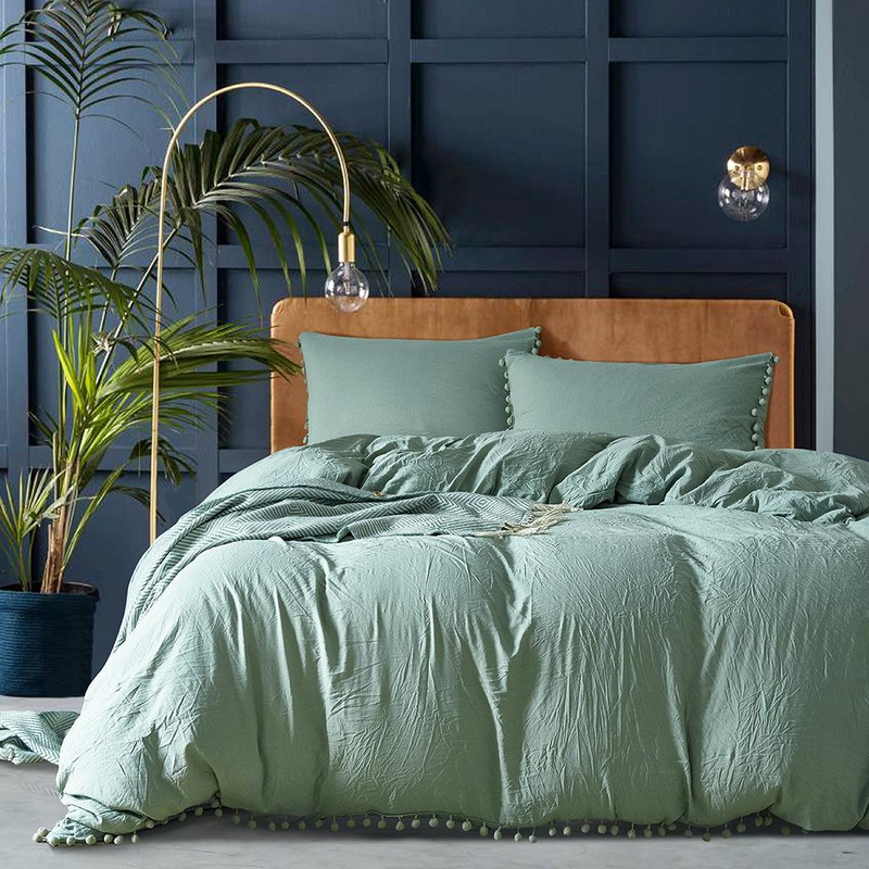 Softest 3 piece bed set solid color comforter duvet cover pillowcase twin / queen / king NHSP134538