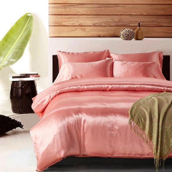 Softest 3 piece bed set simulation silk comforter duvet cover pillowcase twin / queen / king NHSP134541
