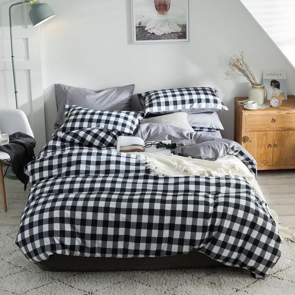 Softest 3/4 piece bed set plaid comforter duvet cover pillowcase twin / queen / king NHSP134563