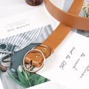 Fashion woman faux leather metal double round buckle belt strap for dress jeans NHPO134158