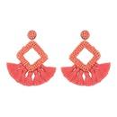Fashion geometric rhinestone shaped rice beads tassel earrings NHAS134464