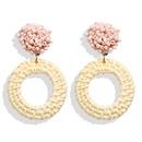 Creative simple beach wind rice beads wooden rattan woven earrings NHPJ134492