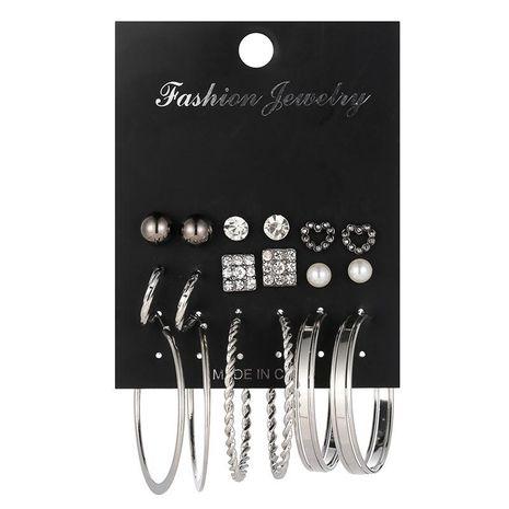 Juego de aretes de aleación de perlas con diamantes en forma de corazón NHSD134704's discount tags