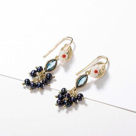 Pendientes de cristal de flores clásicas vintage NHLL134707's discount tags