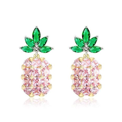 Womens Pineapple Plating Alloy Earrings NHLL134710's discount tags