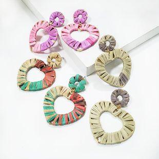 Womens Heart Shaped Raffia Earrings NHJJ134793's discount tags