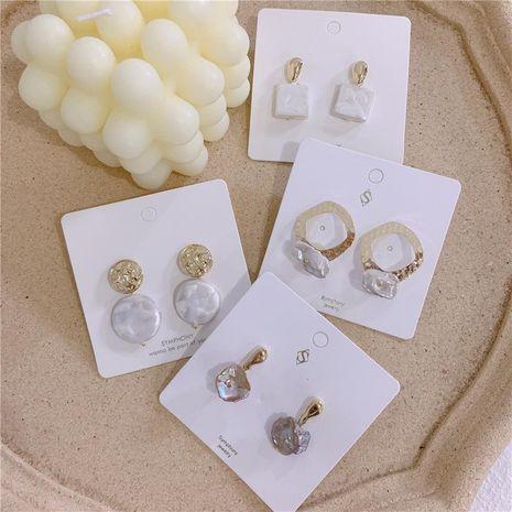 Aletas de mujer con incrustaciones geométricas Aretes NHYQ134817's discount tags