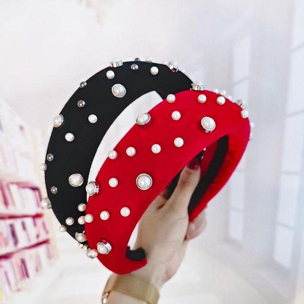 Creative beads thick velvet bag sponge headband NHOU134832