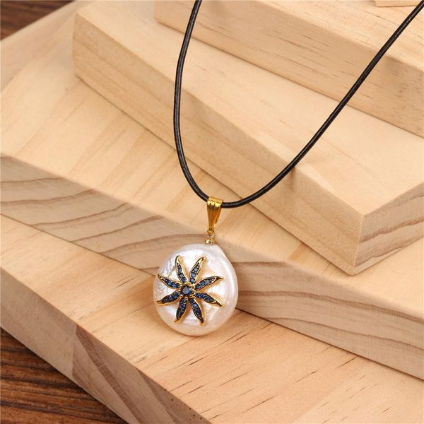 Fashion Beads Micro Inlay Blue Rhinestone Sun Flower Necklace NHPY134847
