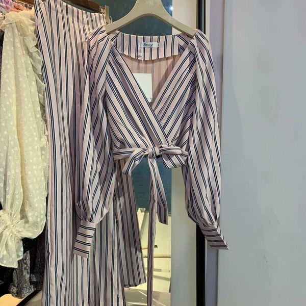 Fashion Court Long Sleeve Striped Wrap Short Shirt NHAM134885