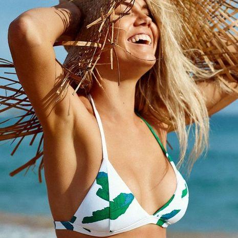 Fashion leaves small fresh printed triangle bikini NHHL134918's discount tags
