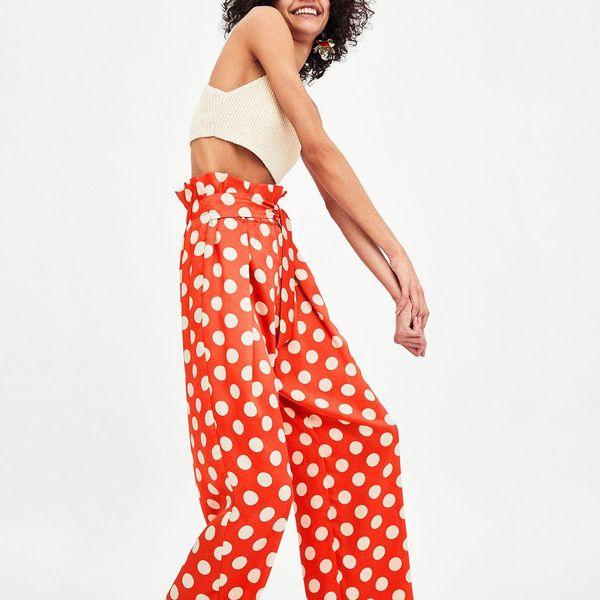 Orange silk polka dot wide-leg pants NHAM134929