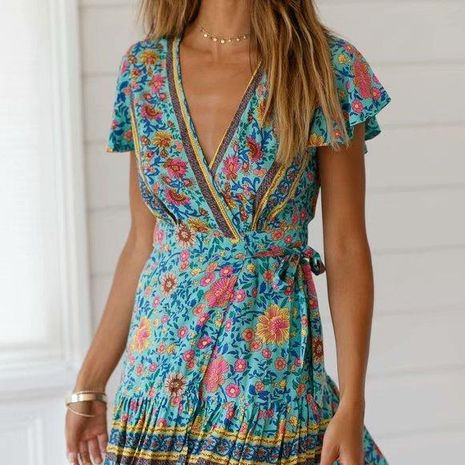Fashion V-neck strap print dress NHAM134941's discount tags
