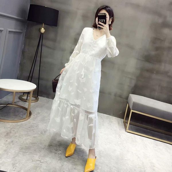 Butterfly Embroidered Lace Shoulder Chiffon Maxi Dress NHAM134948