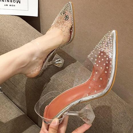 Imitated crystal and transparent rhinestone pointed wine glass with shallow high heel sandals NHSO135000's discount tags