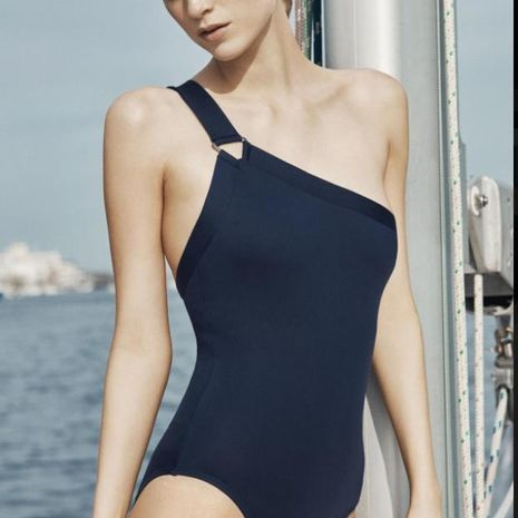 Fashion sexy one-shoulder black and white striped one-piece swimsuit NHHL135008's discount tags